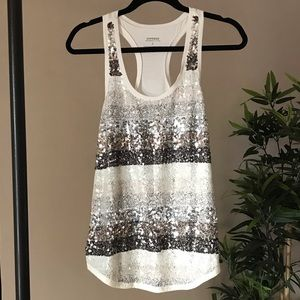 Express DreamWeight Cotton Lace & Sequined Tank